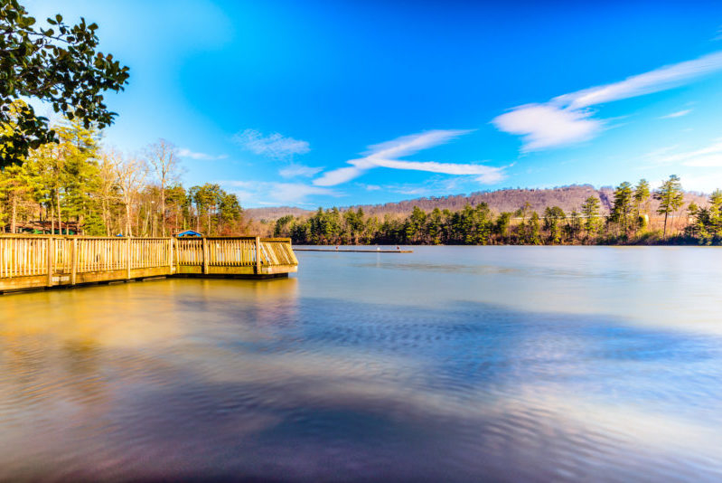 This is an image of Lake Julian in Asheville, North Carolina taken during the winter season. This is one of their best spots for recreation where you can enjoy feeding the ducks as well as boat riding. As seen in this picture is the fishing ramp and its still waters. It's easily accessible to the public being just midway between the Asheville Regional Airport and the Biltmore Estates passing through I-26.