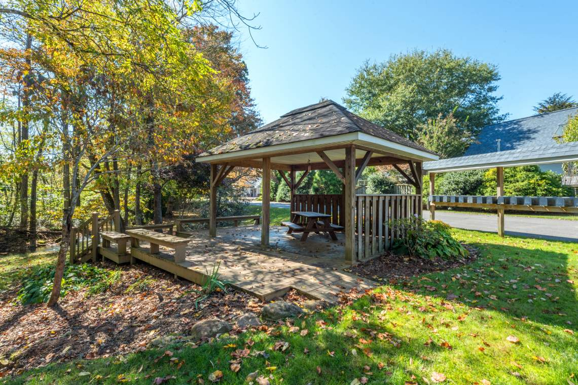 The gazebo and mailbox create a way to meet your neighbors.