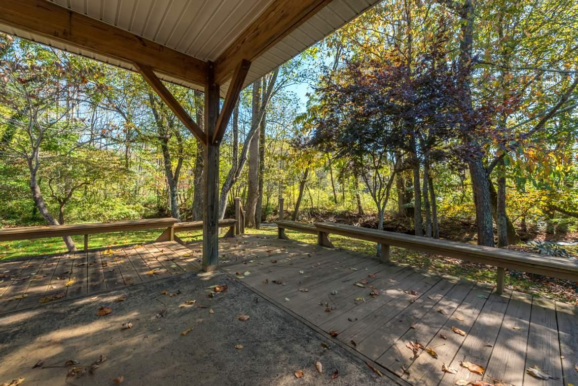Mountainbrook Village's picnic gazebo sits on the banks of Flat Creek.