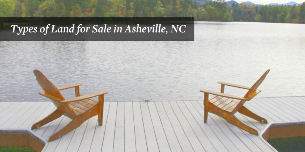 Two wooden chairs sitting on a dock overlooking a lake in Asheville.