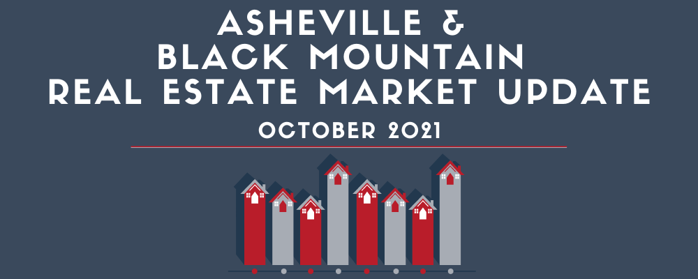 """Graphic showing a house chart and """"Asheville & Black Mountain Real Estate Market Update"""""""