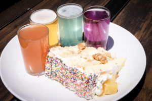 Colorful cake and brews at Bhamari Brewing