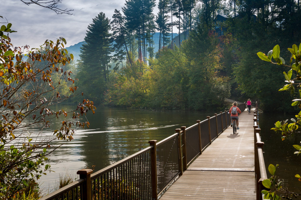 The Biltmore Lake community offers numerous trails around 62-acre Enka Lake, the neighborhood's centerpiece.