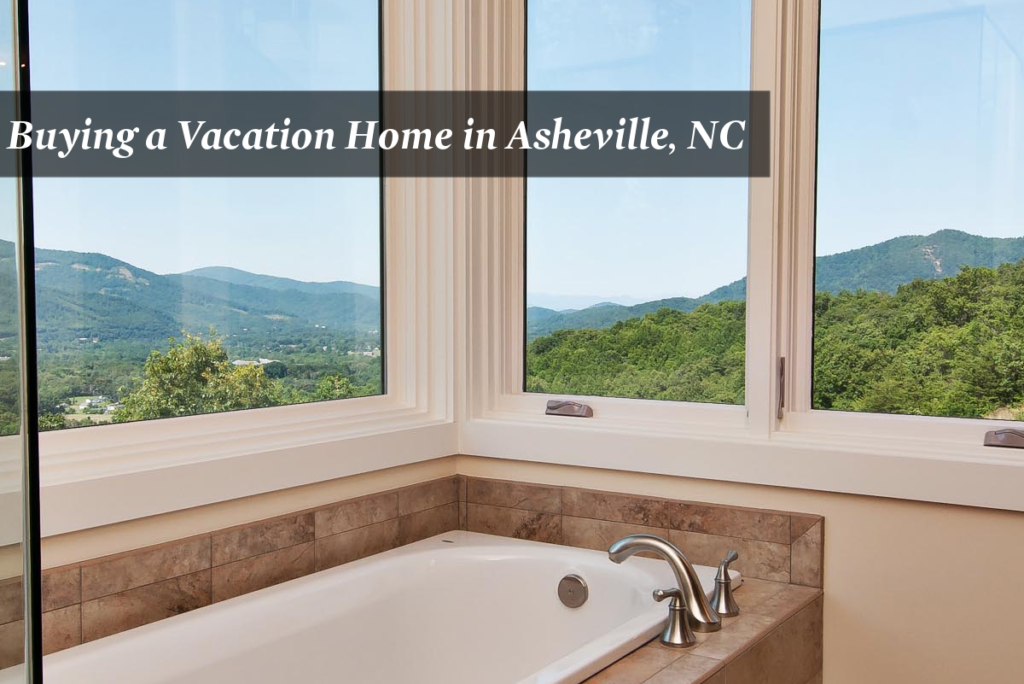 Bathroom with large windows overlooking the mountains in Asheville, NC home.