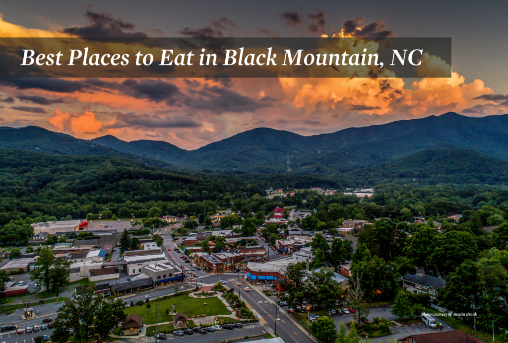 View of Black Mountain North Carolina from above at sunset.