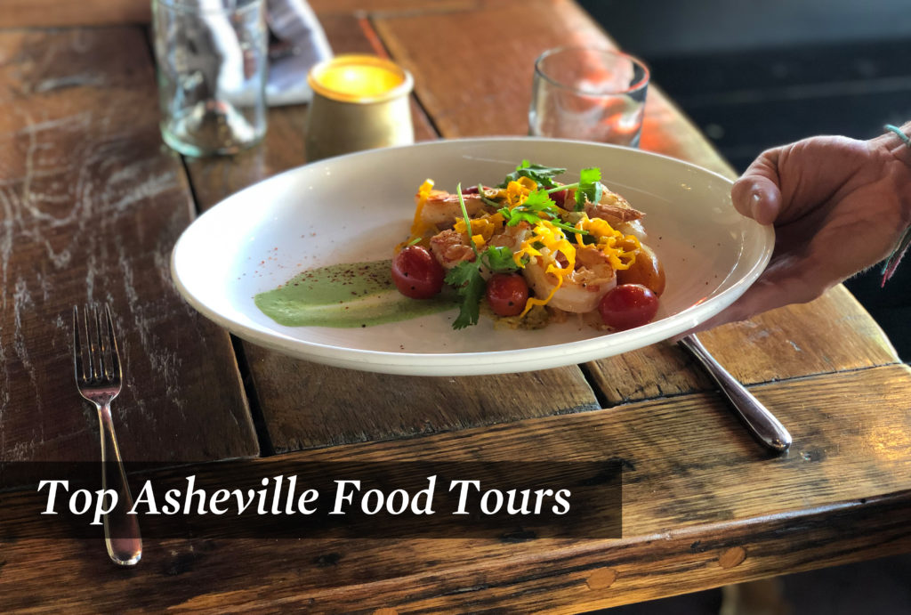 Gourmet serving of shrimp with garnish on an Asheville food tour
