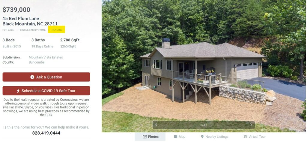 Screenshot from Freestone Properties website showing 'Pending' listing.