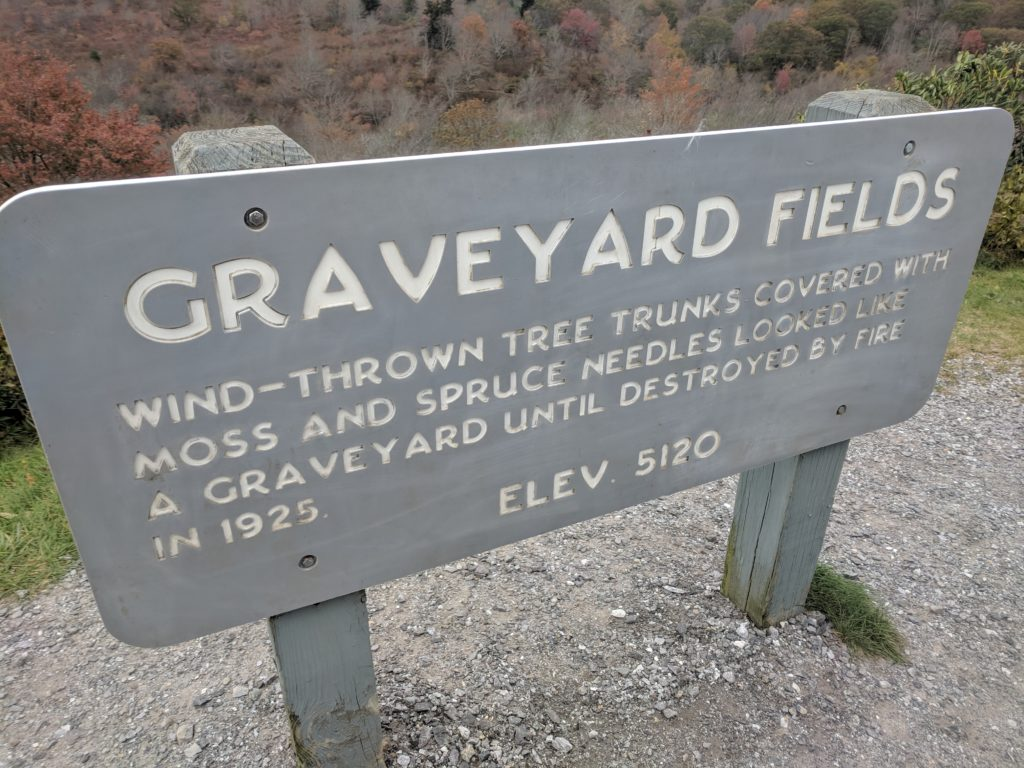Sign at Graveyard Fields