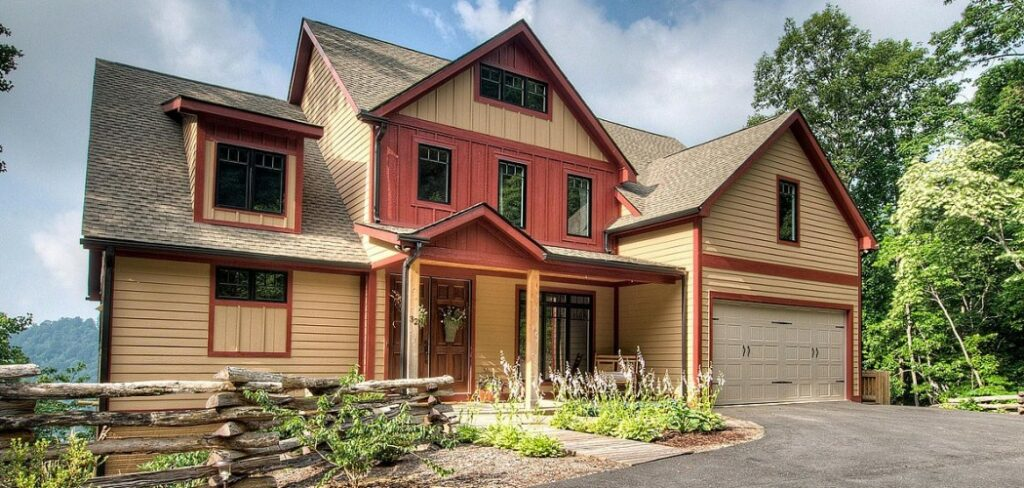 Red and Tan craftsman home