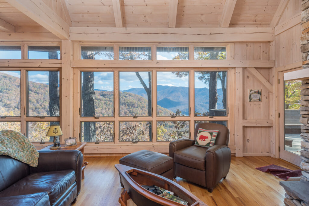 View from inside a timber frame home