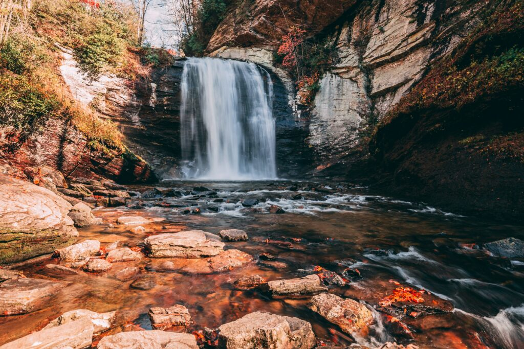 Looking Glass Falls is one of dozens of waterfalls throughout Pisgah National Forest.