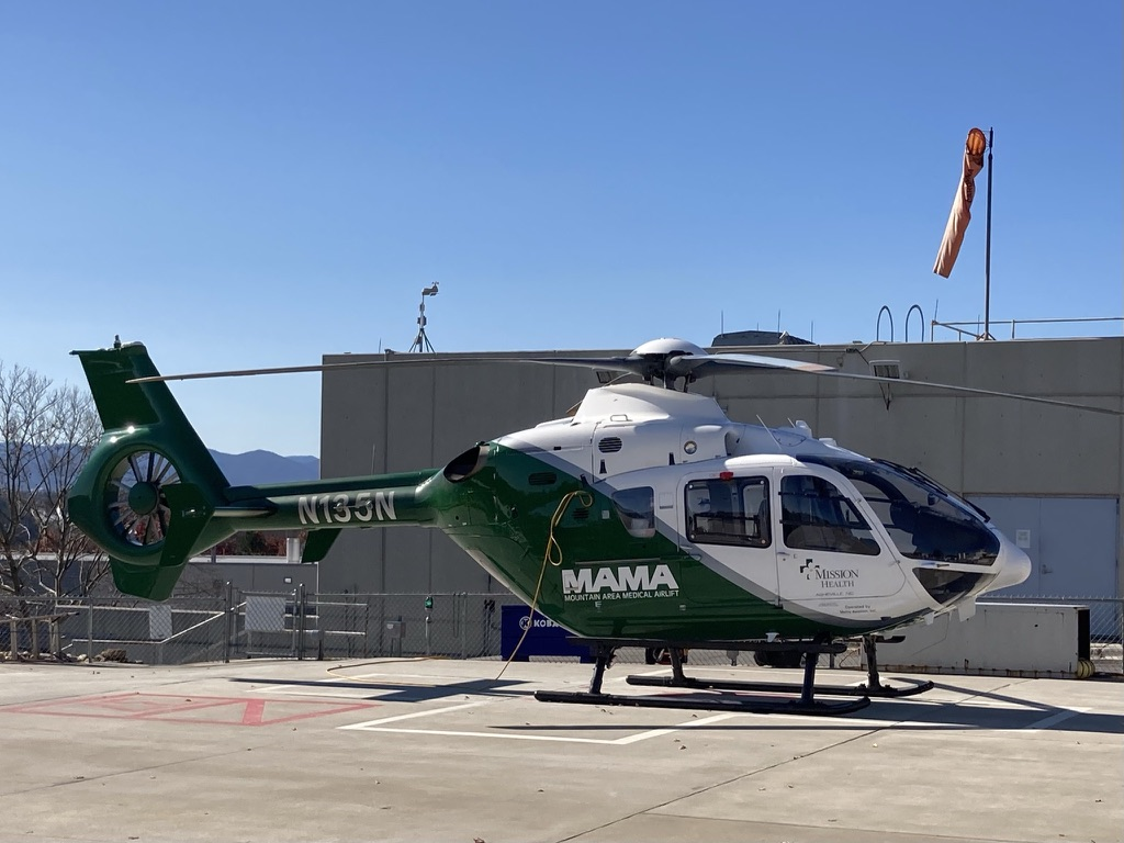 Medical helicopter on a landing pad