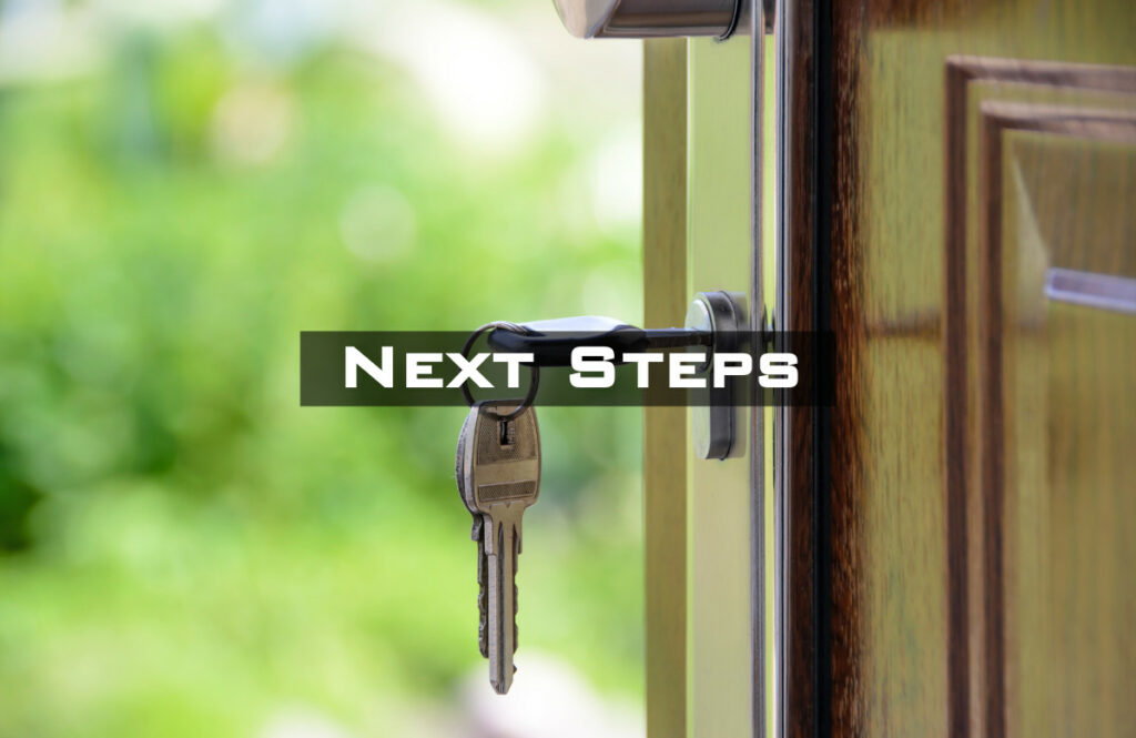 Set of keys in a door, labeled Next Steps