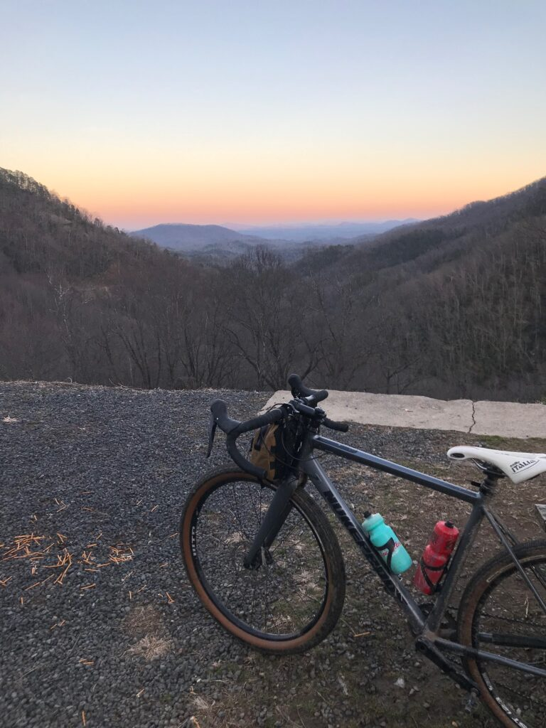 Gravel bike with a mountain view