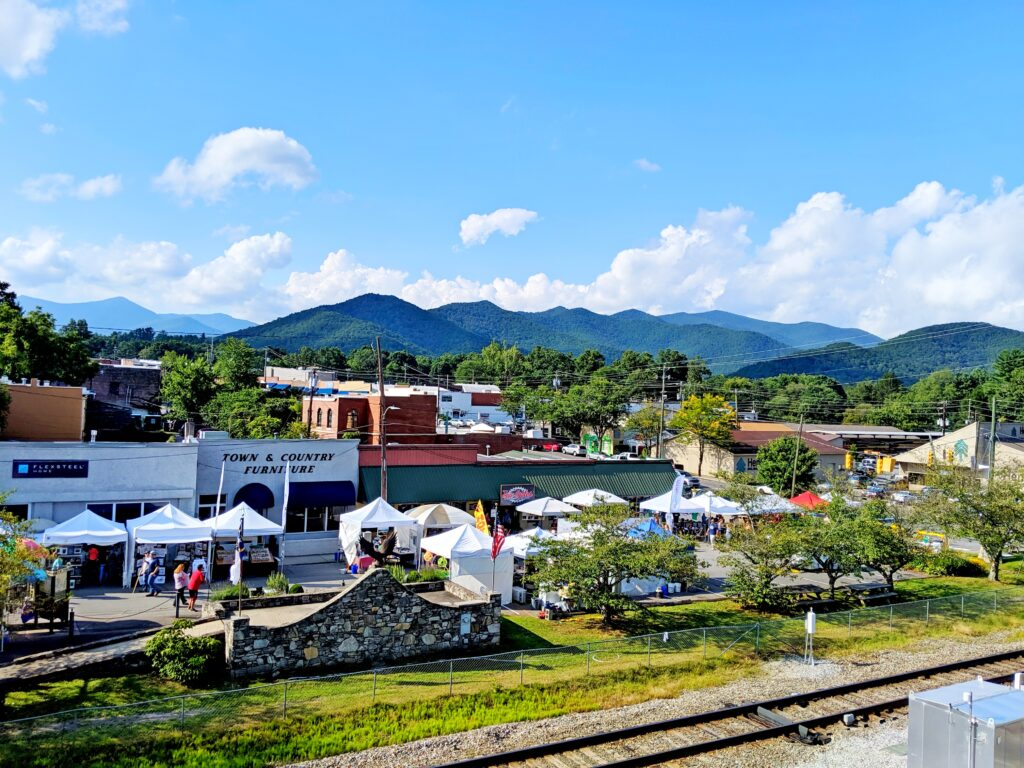 A view of downtown Black Mountain and the mountains beyond