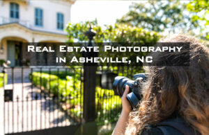 Image of photographer capturing an Asheville home to use for a real estate listing.